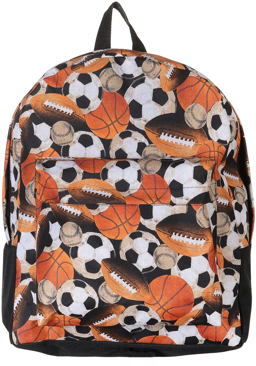 Рюкзак Аntan Мячи, цвет: черный, оранжевый. 6-7/1S76245Стильный рюкзак Аntan Мячи выполнен из текстиля и оформлен изображением мячей. Рюкзак имеет одно основное отделение, которое закрывается на застежку-молнию. Снаружи, на передней стенке находится накладной объемный карман на застежке-молнии.Рюкзак оснащен широкими лямками регулируемой длины и ручкой для переноски в руке.