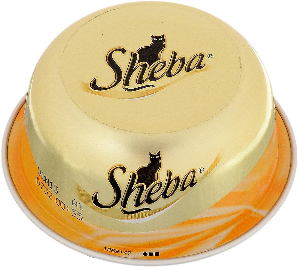 Консервы Sheba для взрослых кошек, с курицей и уткой, 80 г29974Консервы Sheba – мясной деликатес для взрослых кошек из сочного мяса курицы с уткой.Характерные особенности:- Уникальный формат упаковки,- Кошка получает необходимую ей порцию,- Натуральные ингредиенты,- Отсутствие консервантов,- Изысканные рецепт,- Деликатесные ингредиенты. Состав: куриные грудки (минимум 35%), утиные грудки (минимум 4%), крахмал тапиоки. Пищевая ценность (100 г): белки - 12 г, жиры - 0,5 г; зола - 1 г; клетчатка - 0,1 г; влага - 85 г. Энергетическая ценность (100 г): 60 ккал. Товар сертифицирован.