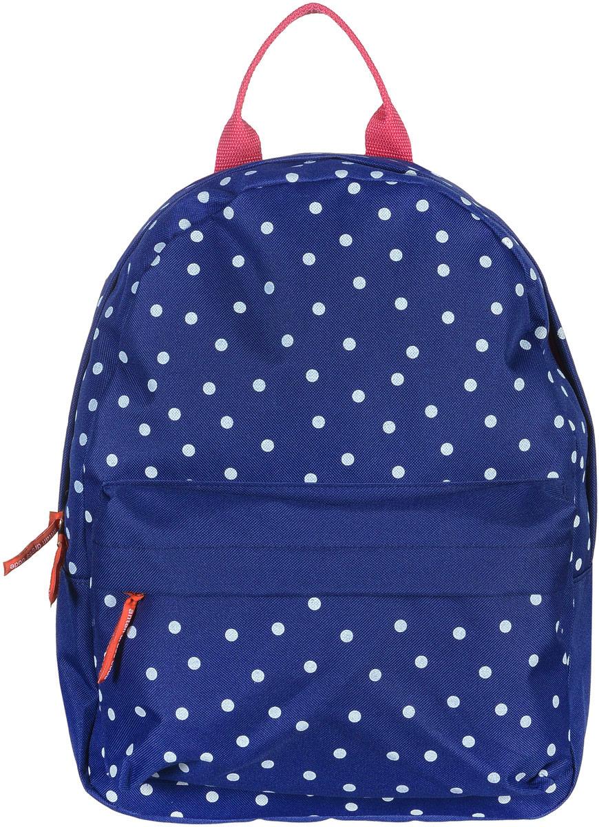 Рюкзак Аntan Горошек, цвет: темно-синий, белый. 6-7S76245Яркий рюкзак Аntan выполнен из высококачественного полиэстера и оформлен оригинальным принтом. На лицевой стороне расположен объемный накладной карман на молнии. Рюкзак оснащен удобными лямками, длина которых регулируется с помощью пряжек. Изделие закрывается с помощью застежки-молнии. Внутри расположено главное вместительное отделение, которое содержит отделение для ноутбука.