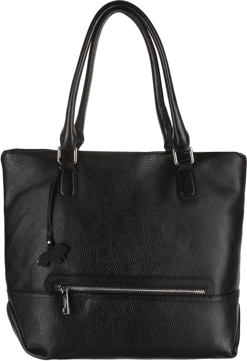 Сумка женская Labbra, цвет: черный. L-DA81377-1EQW-M710DB-1A1Стильная женская сумка Labbra выполнена из натуральной кожи с зернистой фактурой, дополнена стильной фурнитурой и подвеской в виде символики бренда. Сумка имеет вместительное основное отделение, которое разделено текстильной перегородкой, содержащей скрытый карман на молнии. Внутри имеется прорезной карман на застежке-молнии и два открытых пришивных кармана для телефона и мелочей. Налицевой и тыльной сторонах изделия располагаются прорезные карманы на застежке-молнии. Сумка оснащена небольшими металлическими ножками, которые будут предохранять ее дно от преждевременного износа, трения о твердые поверхности, а также от загрязнения. Роскошная сумка внесет элегантные нотки в ваш образ и подчеркнет ваше отменное чувство стиля. Лаконичный цвет и простая форма помогут ей вписаться даже в самый сложный и продуманный гардероб.