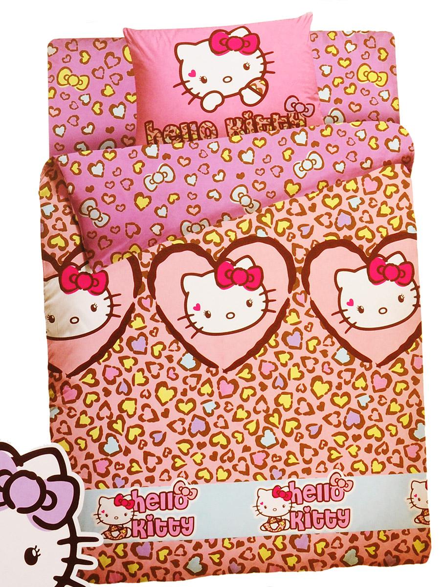 Hello Kitty Комплект детского постельного белья Леопард 1,5-спальный 3 предмета531-105Комплект детского постельного белья Hello Kitty Леопард состоит из наволочки, пододеяльника и простыни.Такой комплект идеально подойдет для кровати вашей дочурки и обеспечит ей здоровый сон. Комплект изготовлен из ранфорса (100% хлопок), дарящего малышке непревзойденную мягкость. Натуральный материал не раздражает даже самую нежную и чувствительную кожу ребенка, обеспечивая ему наибольший комфорт. Приятный рисунок комплекта подарит вашему ребенку встречу с любимыми героями полюбившегося мультфильма и порадует яркостью и красочностью дизайна.Комплект постельного белья Hello Kitty Леопард осуществит заветную мечту девочки окунуться в волшебный мир сказок, а любимые персонажи создадут атмосферу уюта.Для девочек всех возрастов Hello Kitty - милый маленький гид по большому миру моды и стиля. Kitty всегда в курсе свежих тенденций и знает, как стать особенной и яркой. Сегодня стильная кошечка выбирает рисунок с модным леопардовым принтом. Популярный дерзкий мотив не оставит равнодушной ни одну маленькую модницу! С Hello Kitty девочки учатся быть красивыми и уверенными в себе!Уход: стирка в горячей воде при температуре 60°С, нельзя отбеливать, сушить при средней температуре, гладить при высокой температуре (до 200°С), не подвергать химчистке.