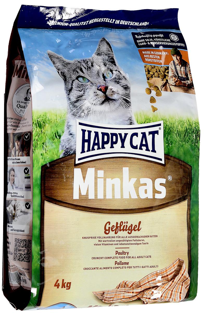 Корм сухой Happy Cat Minkas для взрослых кошек, с птицей, 4 кг103209015Корм для кошек Happy Cat Minkas - это полноценный базовый корм для взрослых кошек. Благодаря ценным белкам из мяса птицы, отсутствию сои и высококачественным хрустящим злаковым составляющим, этот продукт нравится кошкам и легко усваивается. Корм не содержит вредных веществ.Порадуйте своего питомца качественной и питательной пищей.Товар сертифицирован.
