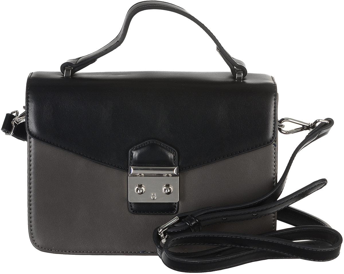 Сумка женская David Jones, цвет: черный, темно-серый. 5235-1L39845800Стильная женская сумка торговой марки David Jones выполнена из искусственной кожи. Модель закрывается клапаном на застежку-защелку.Сумка содержит нашивной карман и врезной карман на застежке-молнии. Изделие оснащено удобной ручкой и съемным плечевым ремнем, регулируемой длины.Прилагается фирменный текстильный чехол для хранения.Оригинальный аксессуар позволит вам завершить образ и быть неотразимой.