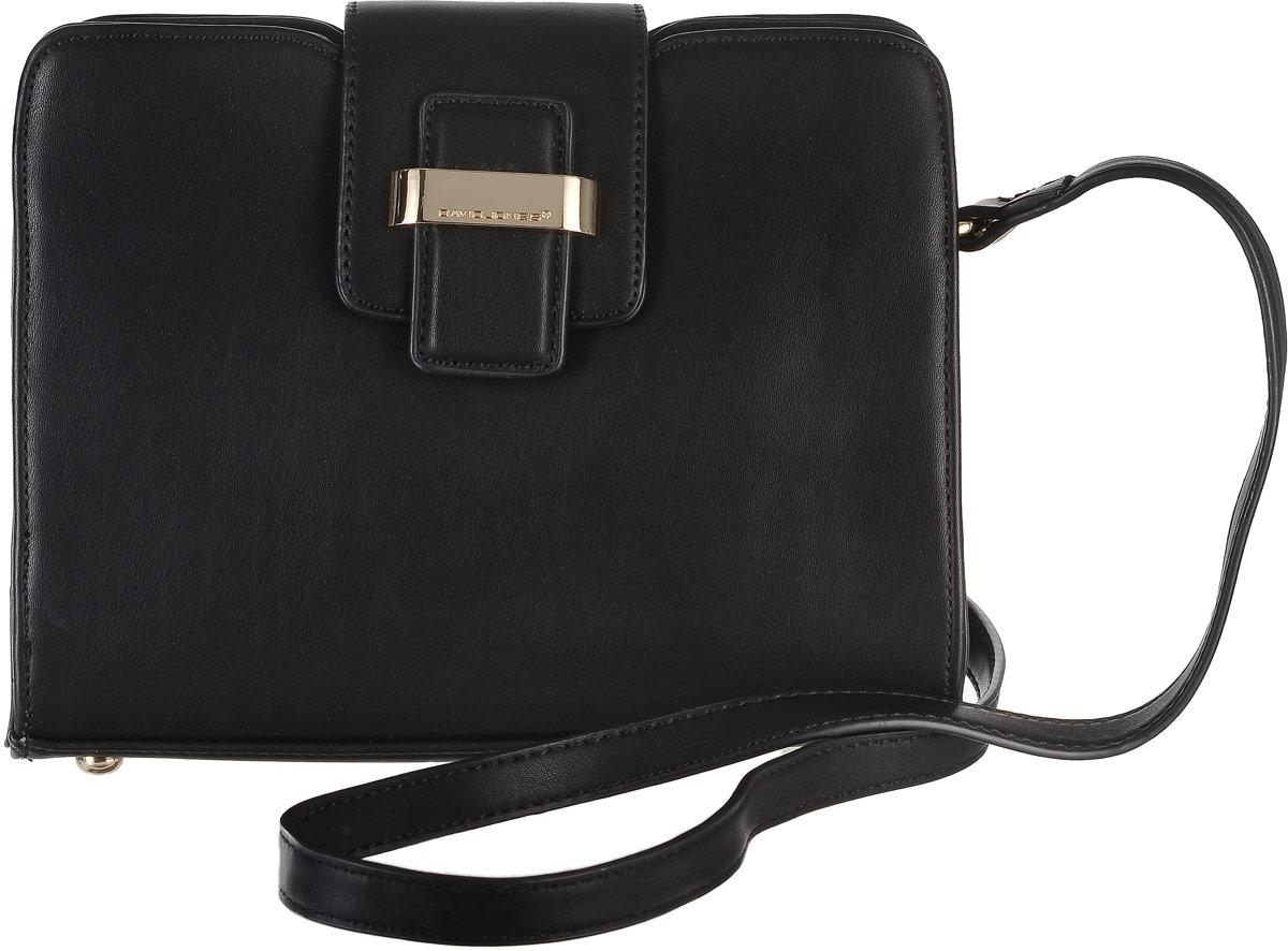 Сумка женская David Jones, цвет: черный. 5203-2579995-400Стильная сумка David Jones, выполнена из экокожи и оснащена изящным плечевым ремешком, который регулируется по длине. Сумка закрывается клапаном на удобную застежку-магнит, внутри имеет одно вместительное отделение с одним вшитым карманом на застежке-молнии. На тыльной стороне изделия имеется карман на застежке-молнии.Сумка David Jones - это выбор молодой, уверенной, стильной женщины, которая ценит качество и комфорт. Изделие станет изысканным дополнением к вашему образу.