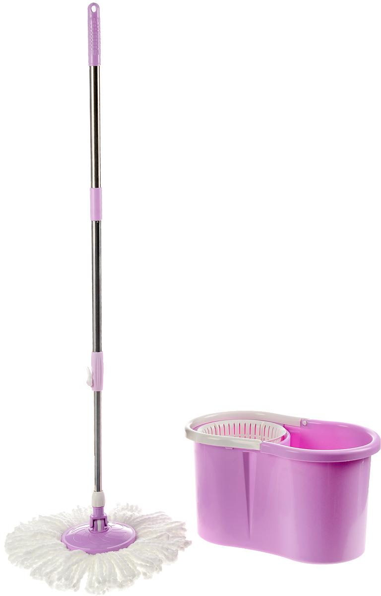 Комплект для мытья пола Пластик Люкс, с центрифугой, цвет: розовыйSVC-300Комплект для мытья пола Пластик Люкс состоит из ведра с центрифугой, швабры и сменной насадки. Комплект предназначен для эффективной, быстрой и приятной уборки. Подходит для влажной и сухой уборки. Насадка закреплена таким образом, что вращается вокруг своей оси на 360°. Это удобно, так как при мытье швабра захватывает больше пространства. Насадка из микрофибры прекрасно абсорбирует воду, впитывает пыль и грязь. В комплекте предусмотрена сменная насадка. Ведро оригинальной формы, выполненное из пластика, имеет удобную прочную ручку. Центрифуга позволяет легко отжимать швабру, не прикасаясь к ней руками. Такой комплект для мытья пригодится в любом хозяйстве и поможет значительно упростить уборку в доме. Размер ведра: 46 х 26 х 26 см. Длина ручки: 90 см. Длина ворса насадки: 13 см.