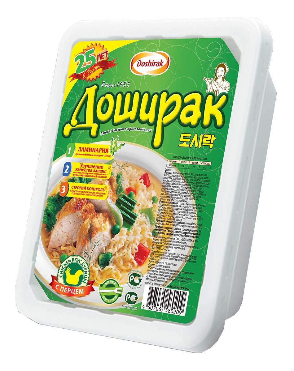 Doshirak лапша быстрого приготовления со вкусом курицы с перцем, 90 г4607065580209Лапша быстрого приготовления, стоит лишь залить кипятком.