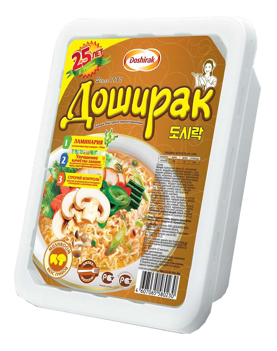 Doshirak лапша быстрого приготовления со вкусом грибов, 90 г0120710Лапша быстрого приготовления, стоит лишь залить кипятком.