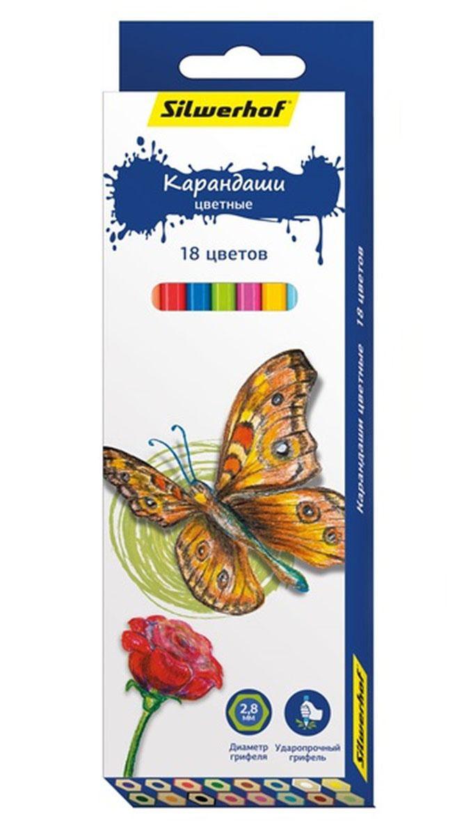 Silwerhof Карандаши цветные Бабочки 18 цветов72523WDЦветные карандаши Silwerhof Бабочки с шестигранным корпусом изготовлены из натурального дерева. Такой набор поможет отлично развить мелкую моторику рук, цветовое восприятие, фантазию и воображение.Диаметр грифеля 2,8 мм.Карандаши поставляются заточенными.В наборе 18 карандашей ярких, насыщенных цветов.