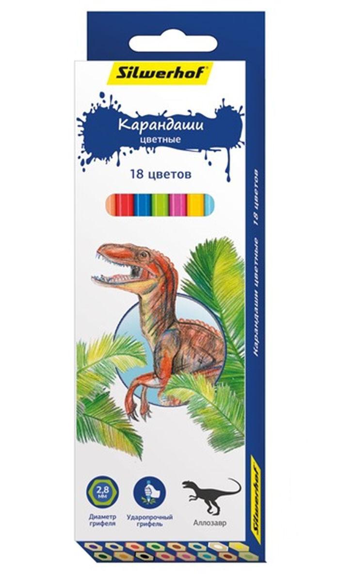 Silwerhof Карандаши цветные Динозавры 18 цветовFS-36054Карандаши Silwerhof Динозавры станут хорошим подарком для маленьких начинающих художников.Шестигранный корпус изготовлен из натурального дерева.Благодаря специальной обработке, многослойной прокраске и лакировке, карандаши легко затачиваются, и их приятно держать в руках.В наборе 18 карандашей ярких, насыщенных цветов.