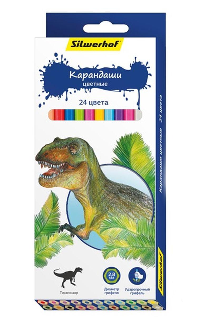 Silwerhof Карандаши цветные Динозавры 24 цвета72523WDКарандаши Silwerhof Динозавры станут хорошим подарком для маленьких начинающих художников.Шестигранный корпус изготовлен из натурального дерева.Благодаря специальной обработке, многослойной прокраске и лакировке, карандаши легко затачиваются, и их приятно держать в руках.В наборе 24 карандаша.