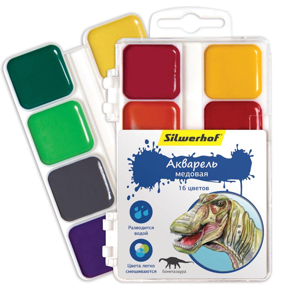 Silwerhof Акварель медовая Динозавры 16 цветов8С 405-08Медовая акварель Silwerhof Динозавры идеально подходит для детского творчества и живописных работ на бумаге и картоне.Яркие и насыщенные цвета красок. Все цвета легко смешиваются между собой, образуя целый спектр новых оттенков. Краски легко разводятся водой, быстро высыхают.Состав: декстрин, глицерин дистиллированный, сахар, мел, пигменты, консервант, вода питьевая.