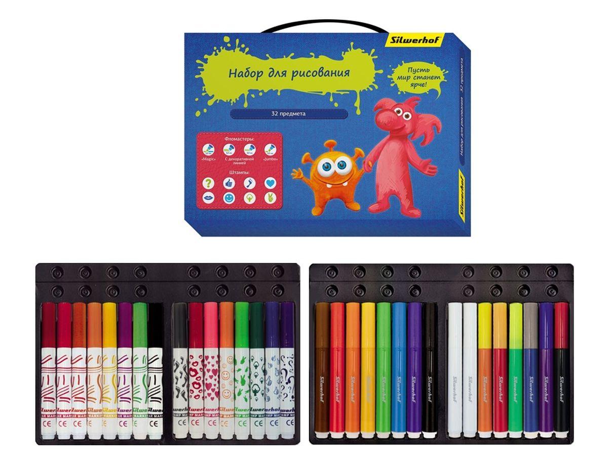 Набор для рисования Silwerhof Джинсовая коллекция предназначен для детского творчества.С таким набором ребёнок сможет раскрыть новые грани своего таланта, воплотить самые интересные задумки и похвастаться своими успехами перед родителями и сверстниками.В наборе 32 предмета: 8 фломастеров Jumbo, 8 фломастеров Magic, 8 фломастеров со штампами, 8 фломастеров с декоративной линией. Все предметы хранятся в индивидуальных ячейках на специальной пластиковой подставке. Для детей от 3-х лет.