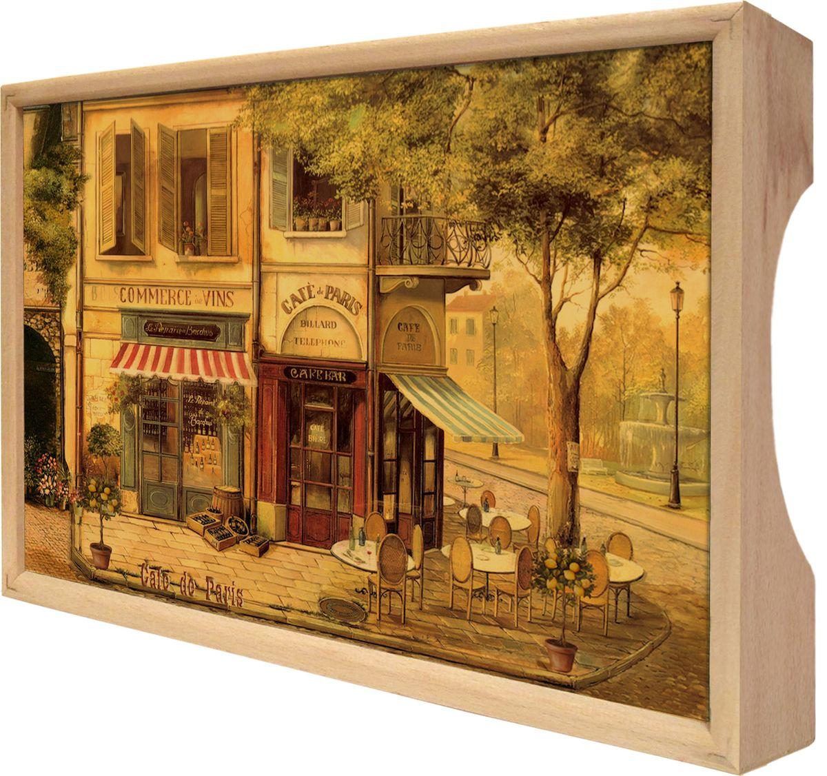 Поднос GiftnHome Парижское кафе, 25 х 37,5 смFS-91909Поднос GiftnHome Парижское кафе изготовлен из бука - благородной породы древесины. Это крепкий, экологичный и надежный материал, который идеально подходит для производства подносов. Изделие прекрасно перенесет длительную эксплуатацию и надолго сохранит свой шарм древесной структуры и природные качества. Поднос - это великолепное решение для подарка и истинный комплимент вашим любимым и близким людям. С ним вы с легкостью сможете подать кофе, завтрак в постель или вынести на веранду гостям закуски и фрукты. Помимо функциональной пользы, данное изделие изысканно дополнит интерьер помещения и внесет уют в домашнее пространство. Нанесенные на поднос дизайнерские принты от Креативной Студии АнтониоК делают изделие уникальным.