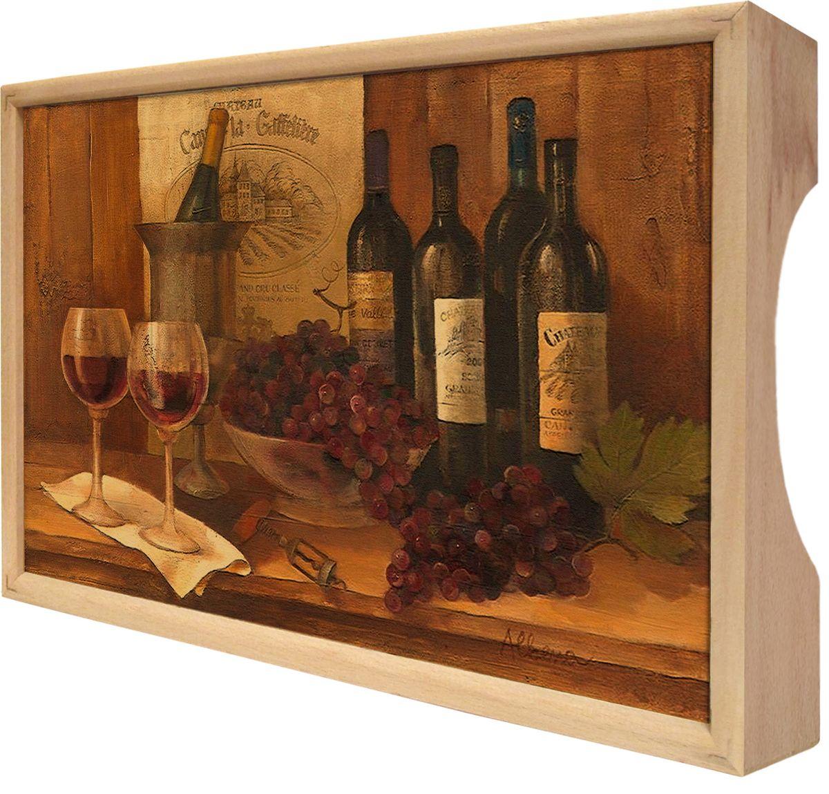 Поднос GiftnHome Винтажные вина, 25 х 37,5 см54 009312Поднос GiftnHome Винтажные вина изготовлен из бука - благородной породы древесины. Это крепкий, экологичный и надежный материал, который идеально подходит для производства подносов. Изделие прекрасно перенесет длительную эксплуатацию и надолго сохранит свой шарм древесной структуры и природные качества. Поднос - это великолепное решение для подарка и истинный комплимент вашим любимым и близким людям. С ним вы с легкостью сможете подать кофе, завтрак в постель или вынести на веранду гостям закуски и фрукты. Помимо функциональной пользы, данное изделие изысканно дополнит интерьер помещения и внесет уют в домашнее пространство. Нанесенные на поднос дизайнерские принты от Креативной Студии АнтониоК делают изделие уникальным.