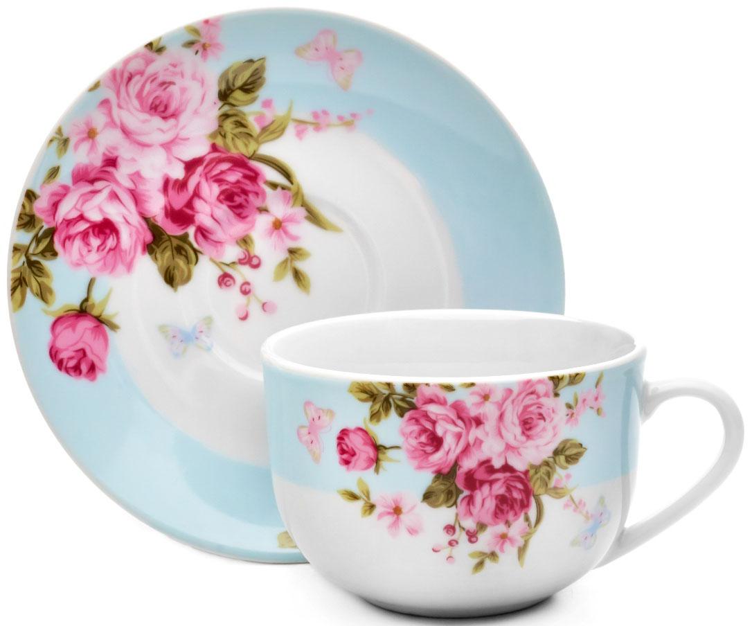 Чайная пара Walmer Mirabella, цвет: голубой, 220 мл54 009312Чайная пара Walmer Mirabella состоит из чашки и блюдца, изготовленных из высококачественного фарфора и оформленных цветочным рисунком. Яркий дизайн, несомненно, придется вам по вкусу.Чайная пара Walmer Mirabella украсит ваш кухонный стол, а также станет замечательным подарком к любому празднику.Объем чашки: 220 мл.Высота чашки: 7 см.Диаметр блюдца: 15 см.