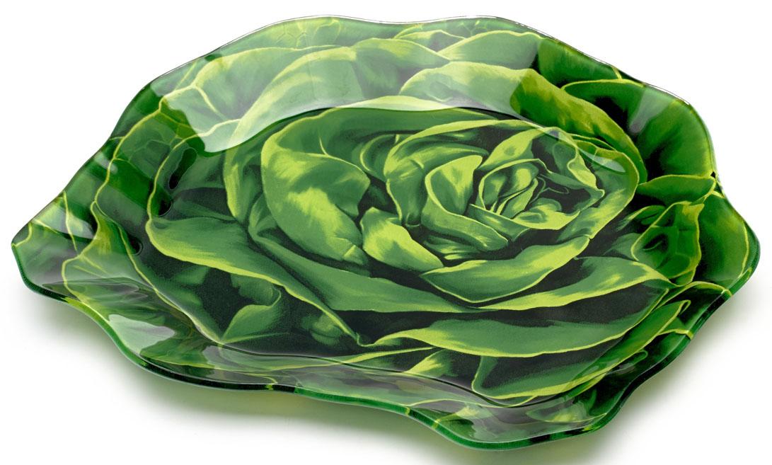 Блюдо Walmer Lettuce, 16 x 18 см115510Сервировочное блюдо Walmer Lettuce изготовлено из высококачественного стекла в виде салата. Краска впечатана в стекло с обратной стороны блюда, что исключает ее контакт с пищей.Блюдо - необходимая вещь при застолье. Вы можете использовать его для закусок, сырной нарезки, колбасных изделий и, конечно, горячих блюд. Изумительное сервировочное блюдо станет изысканным украшением вашего праздничного стола.