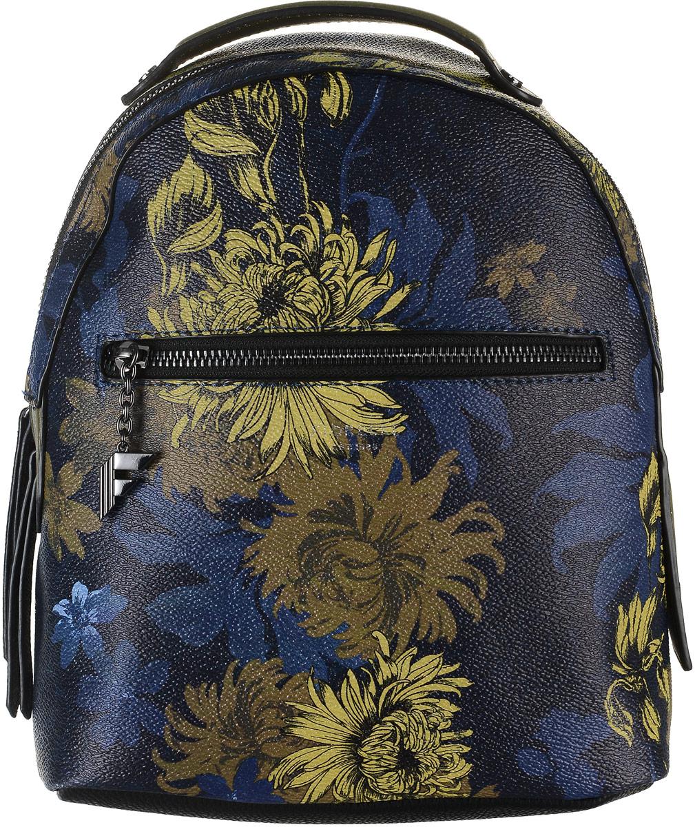 Рюкзак женский Fiorelli, цвет: синий. 8516 FHML597BUL/DСтильный рюкзак Fiorelli выполнен из экокожи с зернистой фактурой и ярким цветочным принтом, оснащен двумя плечевыми регулируемыми ремнями на спинке и удобной ручкой для переноски. Рюкзак закрывается на молнию, внутри имеет одно вместительное отделение, четыре накладных кармана и один вшитый карман на застежке-молнии. На внешней стороне спереди имеется прорезной карман для мелочей на молнии и вертикальный карман на застежке-молнии с тыльной стороны изделия. Рюкзак Fiorelli - это выбор молодой, уверенной, стильной женщины, которая ценит качество и комфорт. Изделие станет изысканным дополнением к вашему образу.