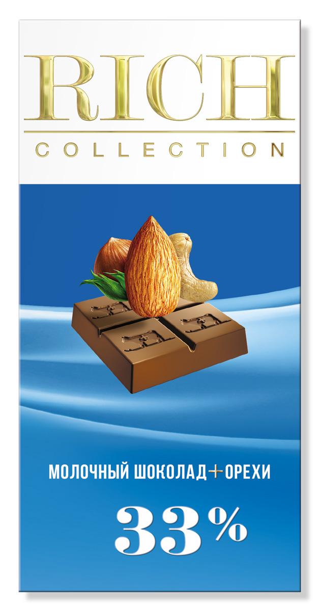 Rich Шоколад молочный с орехами, 70 г0120710Шоколад Rich Collection Молочный с орехами приготовлен на основе альпийского молока и смеси лесных орехов.
