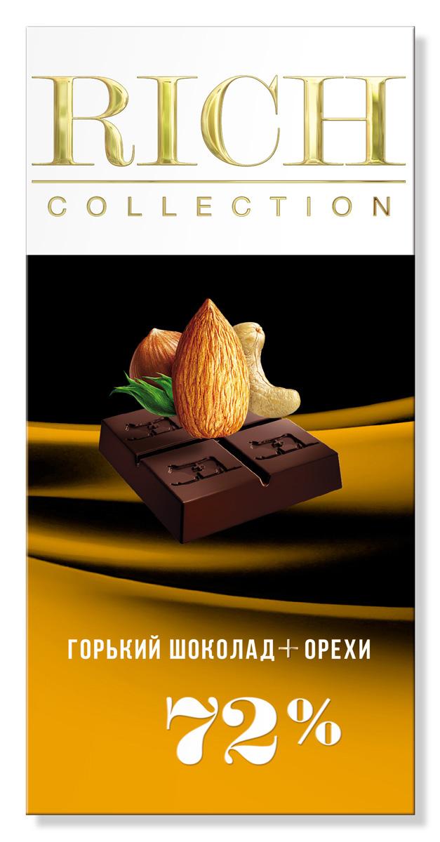 Rich Шоколад горький с орехами, 70 г1093Шоколад Rich Collection Горький с орехами приготовлен из отборных какао-бобов сорта criollo, с добавлением смеси лесных орехов.
