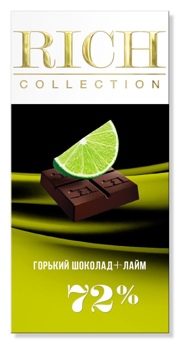 Rich Шоколад горький с лаймом, 70 г79010014Для приготовления шоколада Rich Collection были использованы душистые лаймы с Антильских островов.