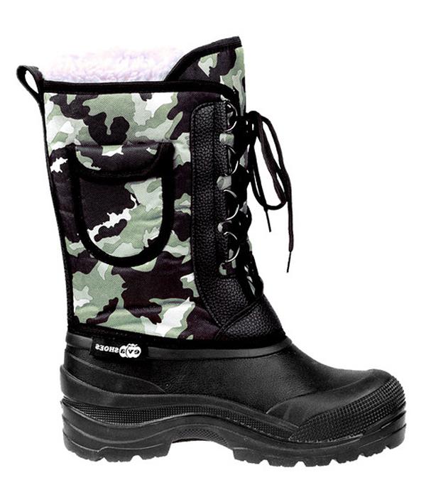 Сапоги зимние EVA Shoes Аляска (-40), цвет: черный, зеленый камуфляж. Размер 42162Зимние сапоги EVA Shoes Аляска (-40) - это легкая, теплая и удобная обувь для зимней рыбалки и охоты. Галоша выполнена из ЭВА. Голенище изготовлено из прочного оксфорда. Внутри расположен съемный чулок из натурального меха с фольгой и спанбондом. На каждом из сапогов расположен небольшой кармашек на липучке. Шнурки помогают плотно прижимать сапог к ноге.