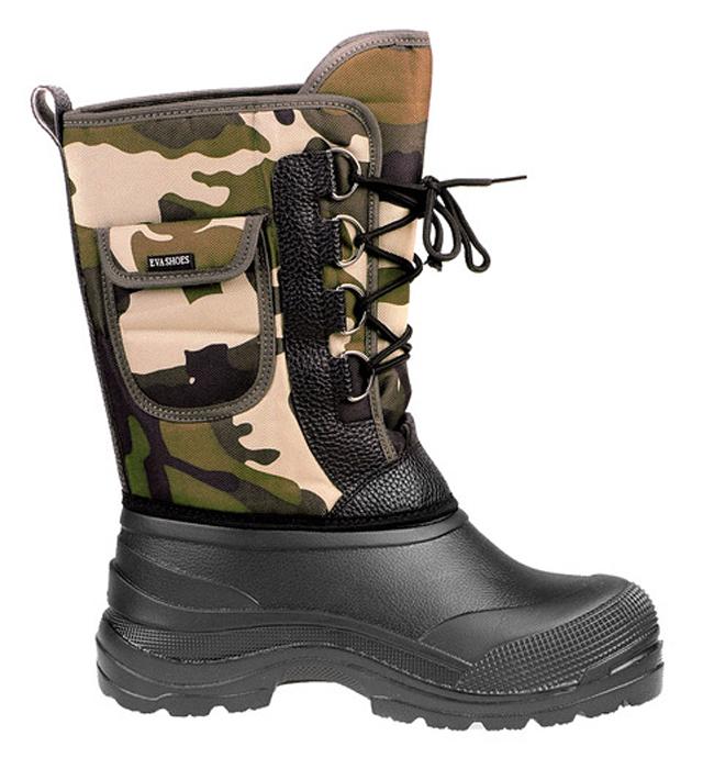 Сапоги зимние EVA Shoes Милитари (-40), цвет: черный, камуфляж. Размер 4100543Легкие и теплые зимние сапоги EVA Shoes Милитари (-40) отлично подойдут для охоты и рыбалки в зимнее время года. Галоша сапог выполнена из этилвинилацетата (ЭВА), это гибкий, эластичный, износостойкий, водонепроницаемый материал, а кроме того, легкий, поэтому сапоги имеют небольшой вес. Верх изготовлен из непромокаемого плотного оксфорда, дублированного поролоном. Съемная внутренняя поверхность выполнена из натурального меха и отделана фольгой и спанбондом для сохранения тепла. Специальная рифленая подошва создает отличное сцепление с любой поверхностью. Шнуровка обеспечивает плотное облегание голенища по ноге. Обувь предназначена как для сырой холодной погоды, так и для сильных морозов. Сапоги обеспечивают высокий уровень тепла и комфорта даже в мороз до -40°С. На голенище расположен небольшой карман на липучке.