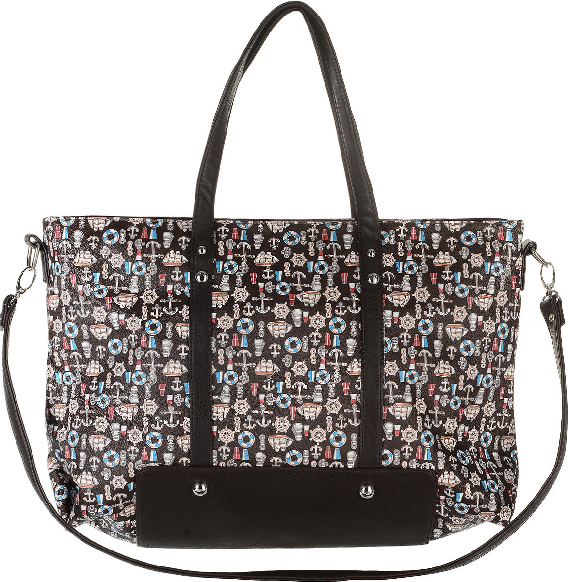 Сумка женская Аntan, цвет: темно-коричневый, голубой, молочный. 8423-47670-00504Модная женская сумка Аntan, выполненная из искусственной кожи, оформлена принтом в морском стиле. Изделие имеет одно отделение, которое закрывается на застежку-молнию. Внутри сумки находятся прорезной карман на застежке-молнии и два накладных открытых кармана. Сумка оснащена двумя удобными ручками. В комплект входит съемный плечевой ремень.