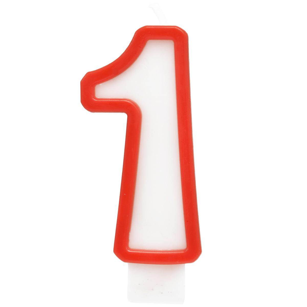 Action! Свеча-цифра для торта 1 год цвет красный