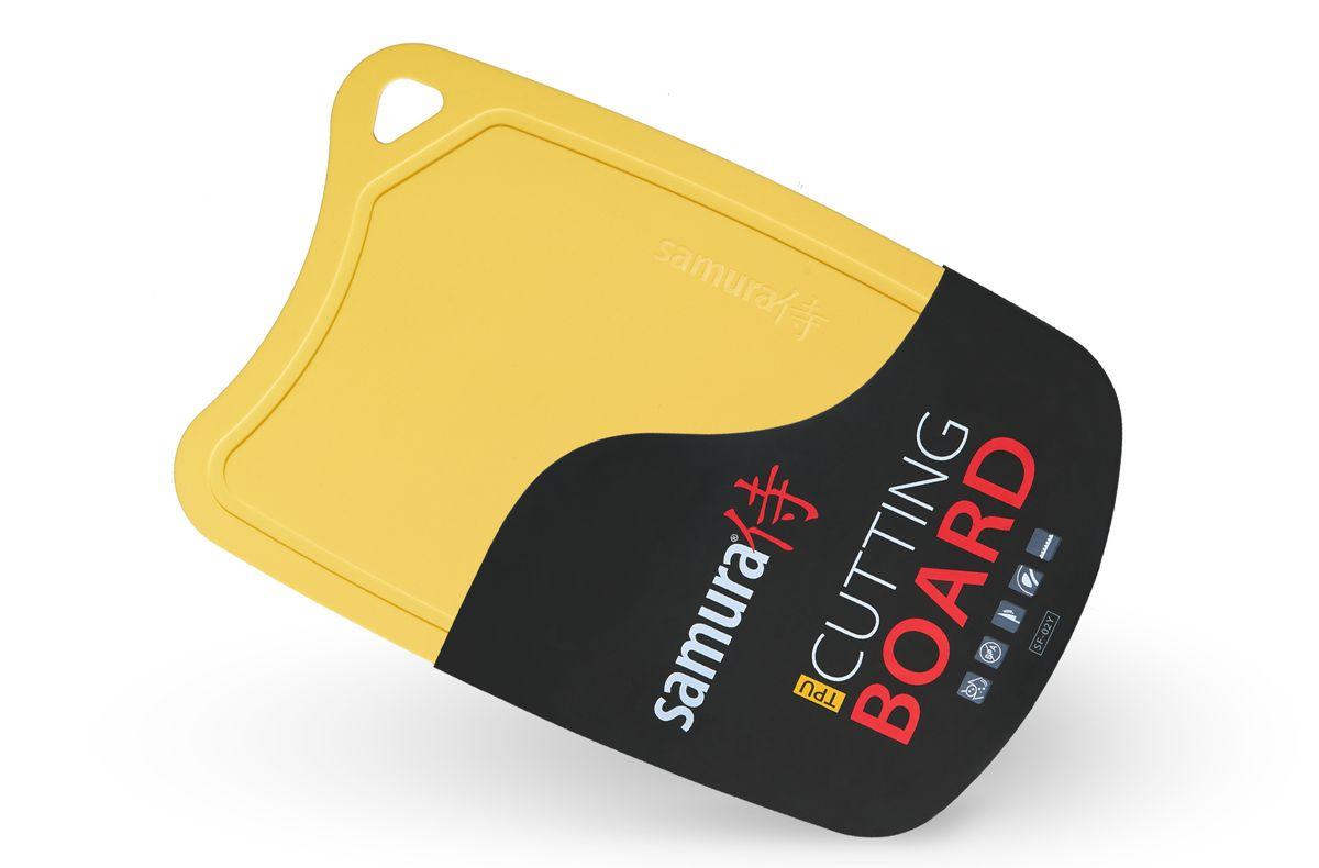 Доска разделочная Samura, термопластиковая, цвет: желтый, 38 х 25 смSF-02Y/16Кухонная термопластиковая доска Samura выполнена из термопластичного полиуретана, который используется для производства современных медицинских товаров, а также товаров для детей. Поверхность доски препятствует проникновению бактерий в процессе эксплуатации. Продлевает жизнь ножам в отличие от слишком твердых стеклянных досок. Лезвие японского стального или керамического ножа в процессе нарезки не сталкивается с твердой поверхностью, а мягко проваливается в пористую и безопасную структуру доски. По краю рабочей поверхности доски Samura проходит удобный желоб-накопитель лишней жидкости (например, сока с нарезаемых продуктов). Кухоннаядоска Samura - это незаменимая вещь в каждом доме и отличный подарок всем хозяйкам.