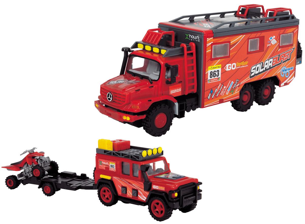 Dickie Toys Набор машинок Исследовательские автомобили цвет красный 3 шт dickie toys dickie toys фрикционный джип 4 х 4 hill roader красный