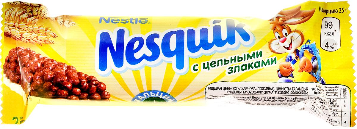 Nestle Nesquik шоколадный батончик с цельными злаками, 25 г0120710Шоколадный батончик Nestle Nesquik (Нестле Несквик) с цельными злаками - полезный и удобный перекус для вашего ребенка! Батончик Nesquik поможет ребенку подзарядиться энергией в школе и дома. Содержит цельные злаки и обогащен витаминами D, B2, B6, ниацином, фолиевой кислотой, пантотеновой кислотой, кальцием и железом. Сложные углеводы, содержащиеся в цельных злаках перевариваются медленнее и позволяют сохранять чувство сытости дольше. Продукт может содержать незначительно количество сои и орехов.Уважаемые клиенты!Обращаем ваше внимание на то, что упаковка может иметь несколько видов дизайна. Поставка осуществляется в зависимости от наличия на складе.