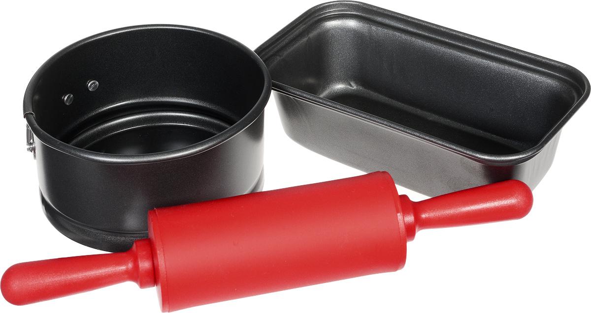 Набор форм для выпечки Travola, 3 предметаSL-8056Набор Travola состоит из двух форм для выпечки и скалки. Одна из форм прямоугольная, другая - круглая, с разъемным механизмом. Формы изготовлены из высококачественной углеродистой стали. Скалка выполнена из прочного пластика и оснащена накладкой из силикона. После использования легко и быстро моются. Такой набор станет отличным приобретением для любой хозяйки. Формы пригодны для мытья в посудомоечных машинах. Размер прямоугольной формы: 15,5 х 8,5 х 4,5 см. Диаметр разъемной формы: 10,8 см. Высота стенки разъемной формы: 5,5 см. Длина скалки: 22,5 см. * Победитель номинации «Лучшая собственная торговая марка в сегменте ONLINE»Премия PRIVATE LABEL AWARDS (by IPLS) —международная премия в области собственных торговых марок, созданная компанией Reed Exhibitions в рамках выставки «Собственная Торговая Марка» (IPLS) 2016 с целью поощрения розничных сетей, а также производителей продовольственных и непродовольственных товаров за их вклад в развитие качественных товаров private label, которые способствуют росту уровня покупательского доверия в России и СНГ.