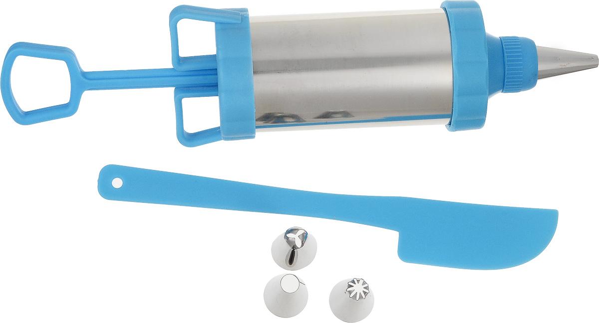 Шприц кондитерский Travola391602Кондитерский шприц Travola, изготовленный из нержавеющей стали и пластика, предназначен для выдавливания разных кремов, в основном служащих для украшения кондитерских изделий. К шприцу прилагаются пластиковый нож и 3 разные насадки. Кондитерский шприц - превосходный инструмент, который облегчает и ускоряет процесс выпечки печенья, бисквитов, пряников и многого другого, идеален для украшения десертов и пирогов сливками или заварным кремом, для заполнения пончиков джемом, а также для украшения бутербродов, тостов и канапе паштетом, маслом, плавленым сыром. Праздничный стол требует особого внимания! Благодаря удивительному помощнику - кондитерскому шприцу вы быстро и легко приготовите выпечку любой формы, какой только пожелаете.Количество насадок: 3 шт.Длина шприца: 20,5 см.Длина пластикового ножа: 18 см. * Победитель номинации «Лучшая собственная торговая марка в сегменте ONLINE»Премия PRIVATE LABEL AWARDS (by IPLS) —международная премия в области собственных торговых марок, созданная компанией Reed Exhibitions в рамках выставки «Собственная Торговая Марка» (IPLS) 2016 с целью поощрения розничных сетей, а также производителей продовольственных и непродовольственных товаров за их вклад в развитие качественных товаров private label, которые способствуют росту уровня покупательского доверия в России и СНГ.