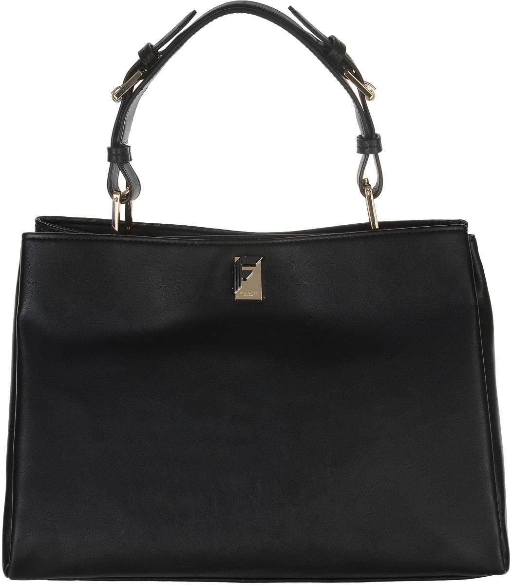 Сумка женская Fiorelli, цвет: черный. 8504 FHA-B86-05-CСтильная женская сумка Fiorelli выполнена из мягкой искусственной кожи и декорирована золотистой фурнитурой.Сумка имеет два вместительных отделения и закрывается на застежки-магниты. Внутри имеется прорезной карман на застежке-молнии и четыре открытых пришивных кармана для телефона и мелочей. Снаружи на задней стенке располагается прорезной карман на молнии. Сумка оснащена стильной эргономичной ручкой, которая регулируется по длине. Роскошная сумка внесет элегантные нотки в ваш образ и подчеркнет ваше отменное чувство стиля. Дизайн продукции Fiorelli разрабатывается в Лондоне молодой, амбициозной командой, идущей в ногу со временем и предлагающей модели, которые предназначены для любых случаев, как для выхода в свет, так и для рабочих будней, торжественных приемов или коктейльных вечеринок.