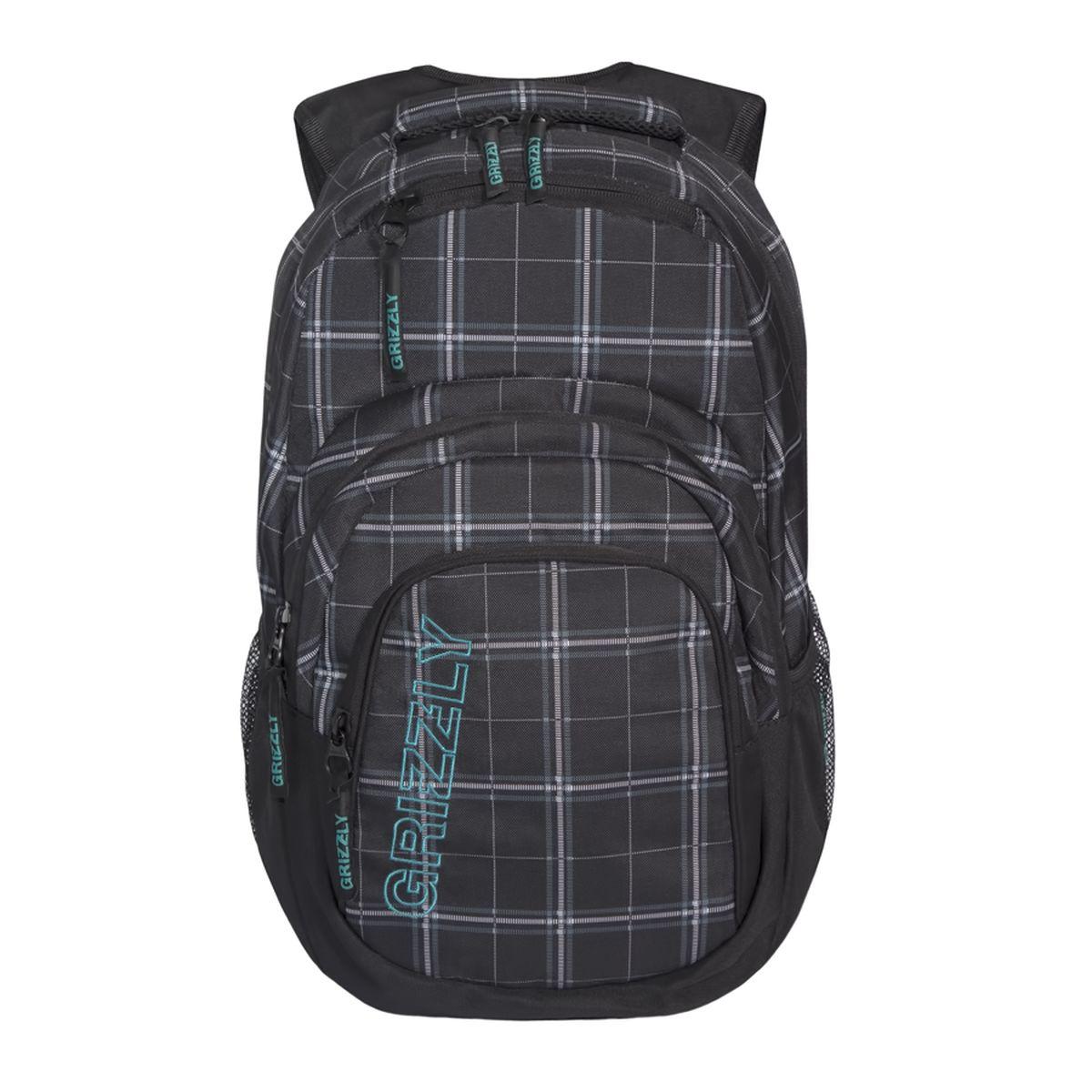 Рюкзак городской Grizzly, цвет: черный, серый. 32 л. RU-704-2/3RivaCase 7560 blueРюкзак городской Grizzl выполнен из высококачественного полиэстера. Рюкзак имеет ручку-петлю для подвешивания и две укрепленные лямки, длина которых регулируется с помощью пряжек. Модель имеет одно основное отделение, которое дополнено пеналом-органайзером и укрепленным карманом для ноутбука. Передняя сторона оснащена двумя объемными карманами на молнии и верхним карманом быстрого доступа. Боковые стенки дополнены объемными карманами из сетки. Тыльная сторона рюкзака имеет укрепленную спинку и нагрудную стяжку-фиксатор.