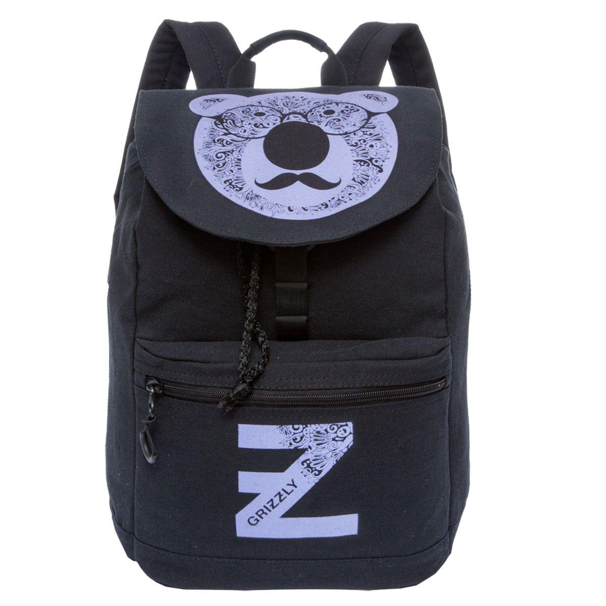 Рюкзак молодежный Grizzly, цвет: черный-лиловый. 18 л. RD-744-1/3 чемодан grizzly цвет фиолетовый черный 40 л lt 595 20 3