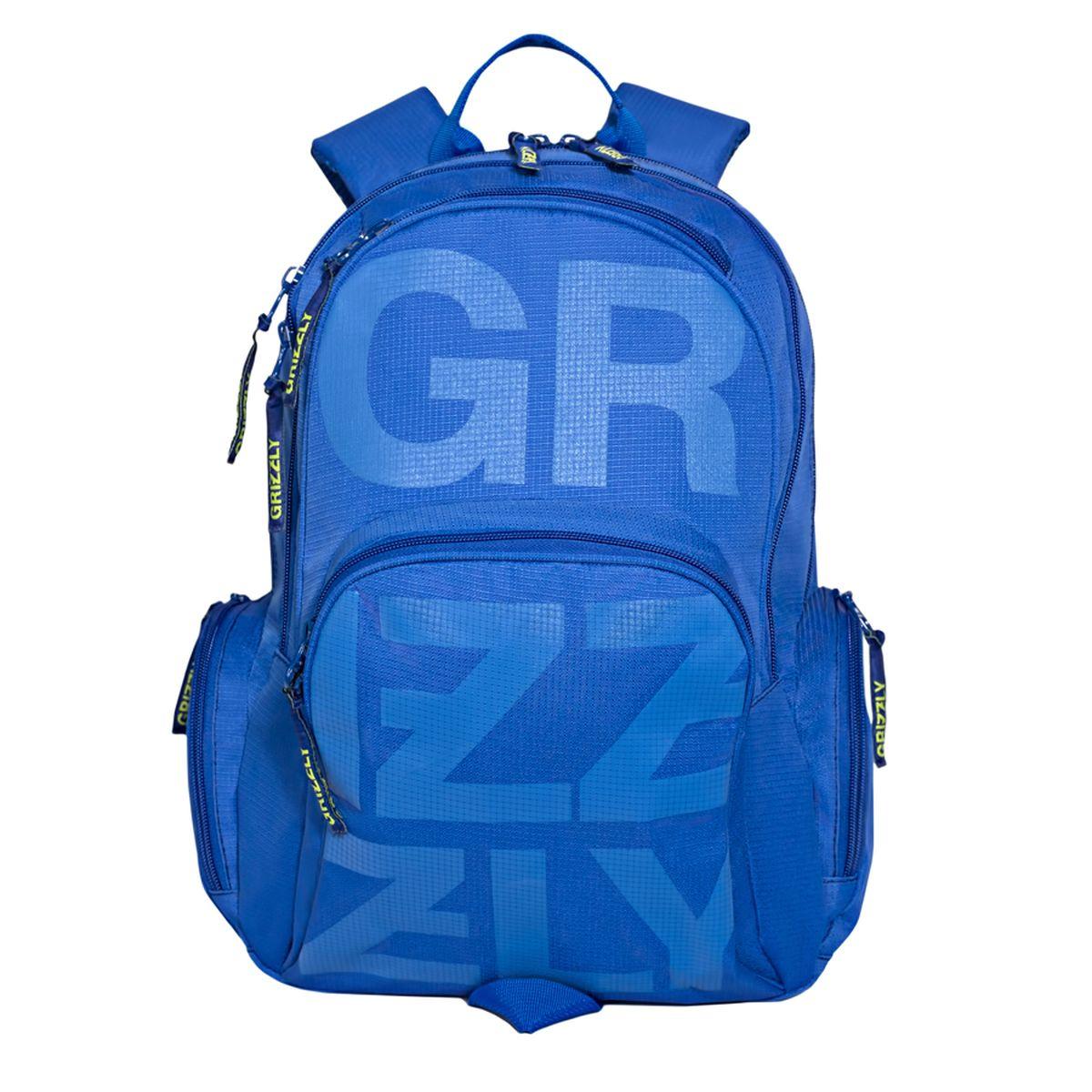 Рюкзак городской Grizzly, цвет: синий. 26 л. RU-706-1/1BP-001 BKРюкзак городской Grizzl выполнен из высококачественного полиэстера и оформлен оригинальным фирменным принтом. Рюкзак имеет петлю для подвешивания и две удобные лямки, длина которых регулируется с помощью пряжек. Изделие имеет два основных отделения, которые дополнены внутренним карманом на молнии, карманом для гаджета и карманом-пеналом для карандашей. Передняя стенка имеет втачной карман на застежке-молнии и верхний карман быстрого доступа. Рюкзак оснащен двумя боковыми карманами на застежке-молнии. Спинка дополнена анатомической укрепленной вставкой.