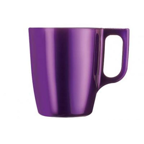 Кружка Luminarc Flashy Colors, цвет: фиолетовый, 250 мл115510Кружка Luminarc Flashy Colors, изготовленная из ударопрочного стекла, оснащена эргономичной ручкой. Кружка прекрасно дополнит интерьер любой кухни. Яркий дизайн изделия придется по вкусу и ценителям классики, и тем, кто предпочитает утонченность и изысканность.Подходит для использования в микроволновой печи и можно мыть в посудомоечной машине.Диаметр кружки (по верхнему краю): 7,5 см.Высота кружки: 9,2 см.Объем кружки: 250 мл.