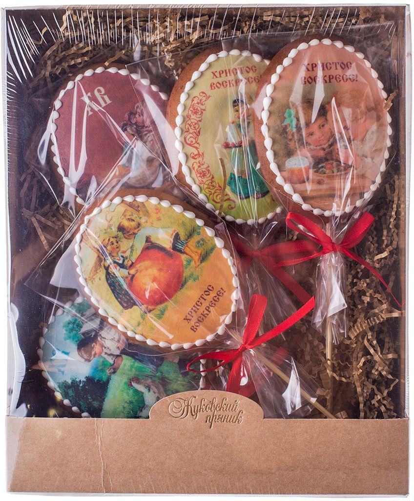 Жуковский пряник Подарочный набор Пасха, 5 шт0120710Медово-имбирные пряники с росписью из айсинга, фотопечатью на сахарной бумаге.