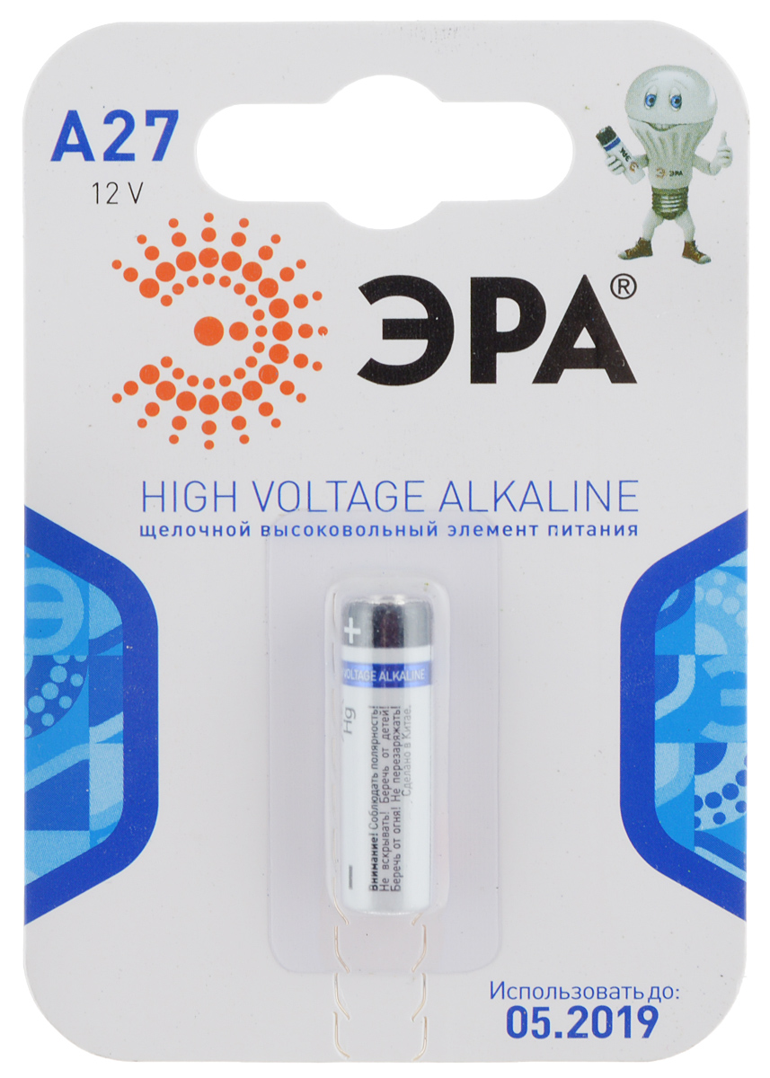 Батарейка алкалиновая ЭРА Energy, тип A27 (1BL), 12В8467Щелочные (алкалиновые) батарейки ЭРА Energy оптимально подходят для повседневного питания множества современных бытовых приборов: автосигнализаций, электронных игрушек, фонарей, беспроводной компьютерной периферии и многого другого. Не содержат кадмия и ртути. Батарейки созданы для устройств со средним и высоким потреблением энергии. Работают в 10 раз дольше, чем обычные солевые элементы питания. Размер батарейки: 0,7 см х 2,7 см.