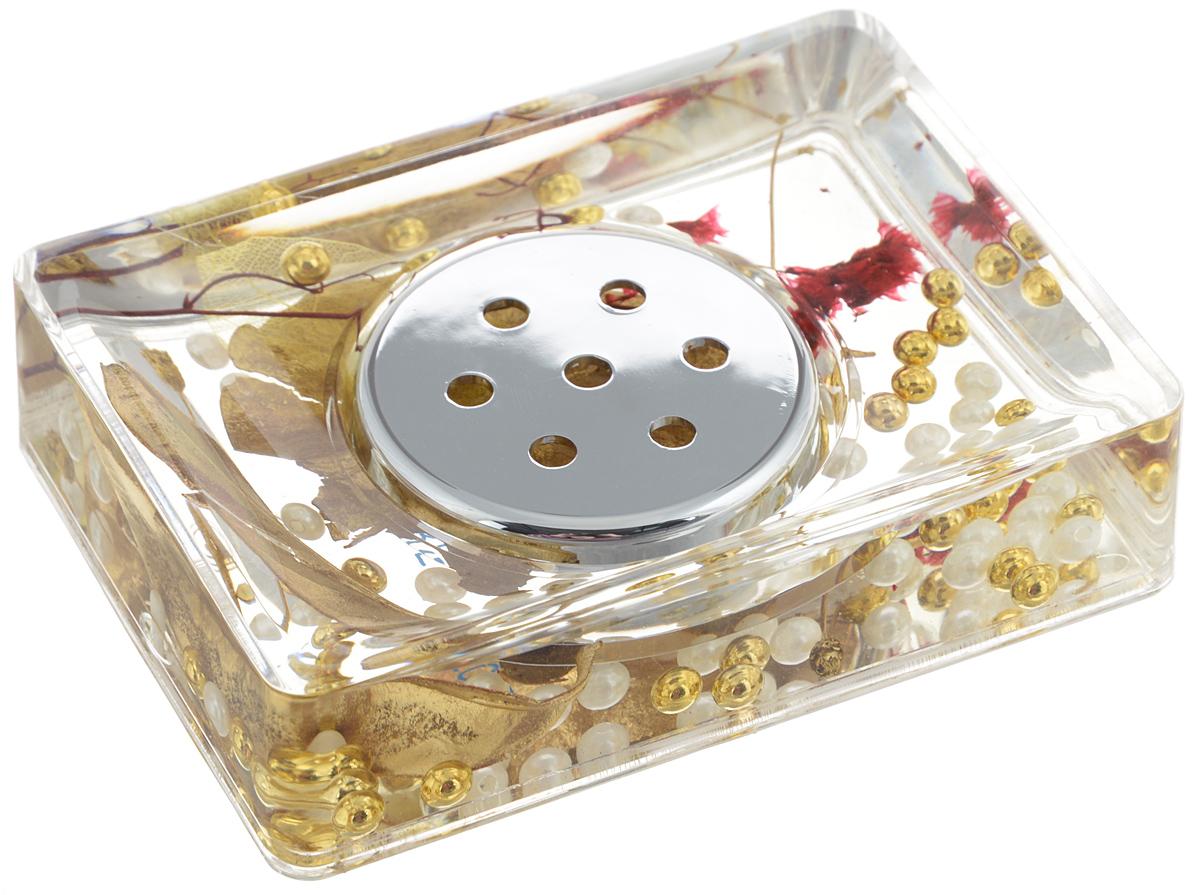 Мыльница Vanstore Gold Leaf, цвет: золотистый, 14 х 9,5 х 3,5 смSH10-R1G-24Оригинальная мыльница Vanstore Gold Leaf, изготовленная из прозрачного пластика, отлично подойдет для вашей ванной комнаты. Внутри мыльницы гелиевый наполнитель с золотистыми и белыми бусинами, листочками и веточками.Такая мыльница создаст особую атмосферу уюта и максимального комфорта в ванной.Размер мыльницы: 14 х 9,5 х 3,5 см.