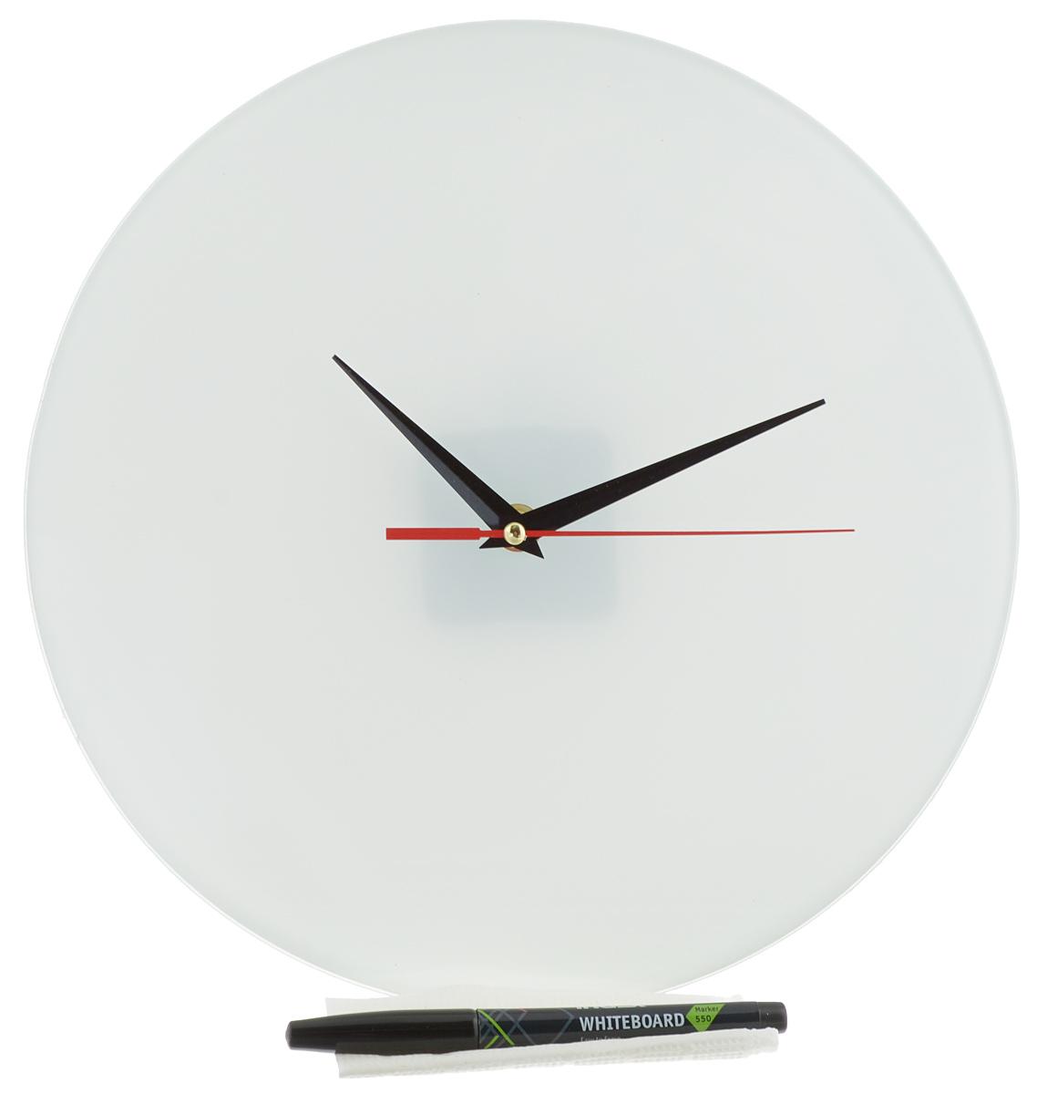 Часы настенные Эврика Нарисуй сам, стеклянные, цвет: белый, диаметр 28 см31824Настенные часы Нарисуй сам своим необычным дизайном подчеркнут стильность и оригинальность интерьера вашего дома. Циферблат часов выполнен из стекла белого цвета. В комплекте черный маркер с салфеткой, с помощью которых вы сможете сами создать дизайн ваших часов. Часы имеют три стрелки - часовую, минутную и секундную. На задней стенке часов расположена металлическая петелька для подвешивания. Часы работают от одной батарейки типа АА.Диаметр часов: 28 см.Такие часы послужат отличным подарком для ценителя ярких и необычных вещей.Батарейка в комплект не входит.