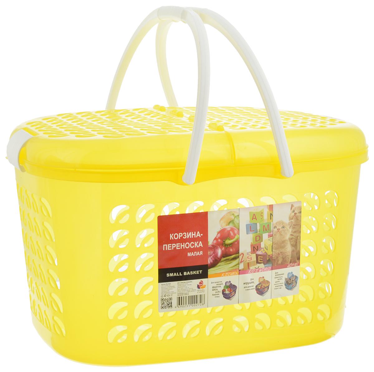 Корзина-переноска Plastic Centre, цвет: желтый, белый, 37 х 27,5 х 23 смМ 1242_желтыйКорзина-переноска Plastic Centre выполнена из прочного пластика. Корзина прекрасно подойдет для хранения продуктов, детских игрушек или переноски небольших домашних животных. На стенках и крышке расположены фигурные отверстия, дно сплошное. Оснащена двумя пластиковыми ручками, крышкой, открывающейся с двух сторон, и крепкими защелками.Размер корзины (с учетом крышки, без учета ручек): 37 х 27,5 х 23 см.