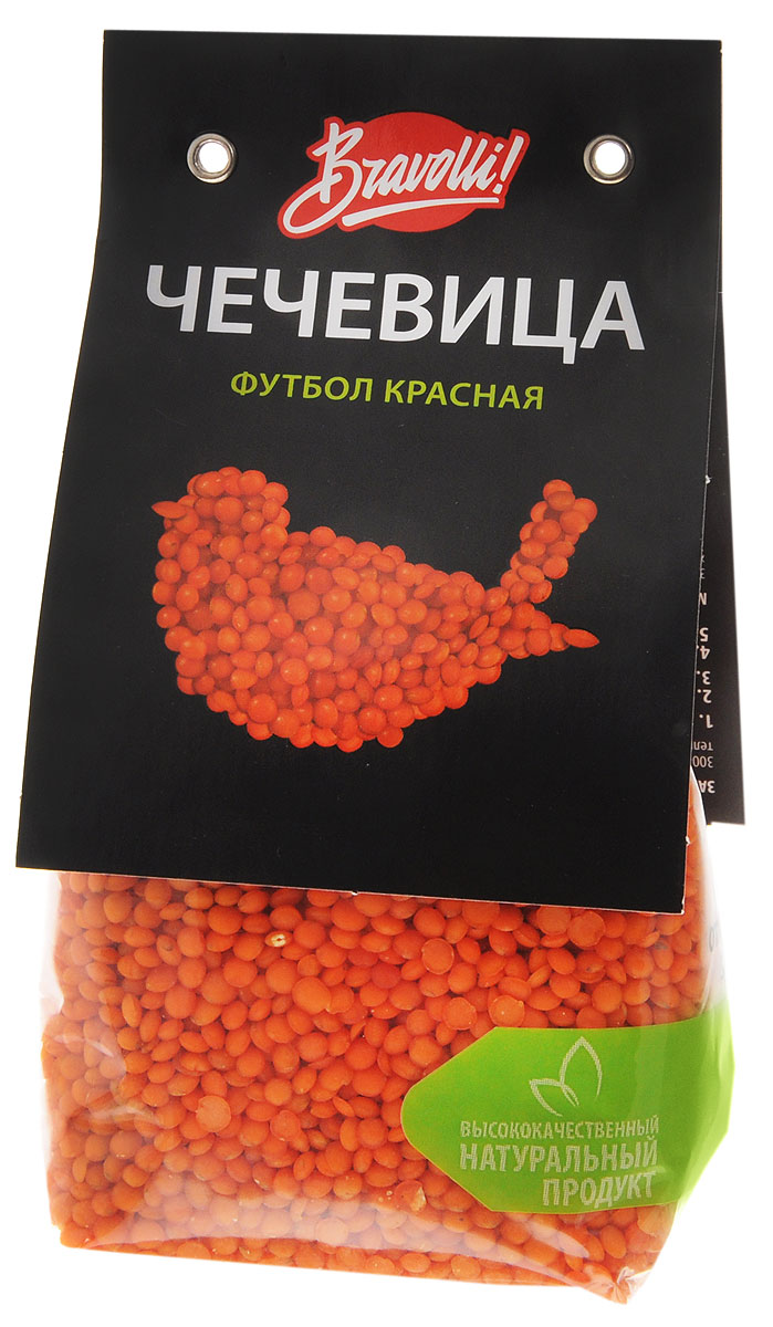 Bravolli Футбол чечевица красная, 350 г24Красная чечевица Футбол похожа на маленький оранжевый мячик. Она довольно универсальна, замечательно подходит к разнообразным ингредиентам: овощам, мясу, рыбу — всему, что пожелаете. Не требует предварительного замачивания, время приготовления — 15 минут.