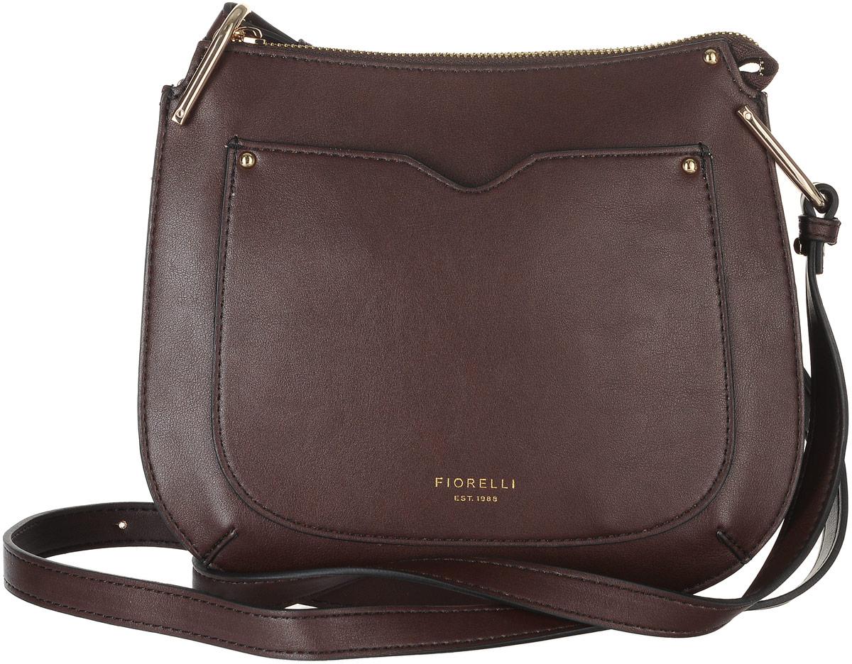 Сумка женская Fiorelli, цвет: темно-коричневый. 8535 FHСМ3206 BLACKСтильная сумка Fiorelli выполнена из высококачественной экокожи и оформлена надписью с названием бренда. На лицевой стороне расположен небольшой открытый накладной карман. Сумка оснащена удобным плечевым ремнем, длина которого регулируется с помощью металлических болтов. Изделие закрывается с помощью застежки-молнии. Внутри расположено главное отделение, которое содержит один открытый накладной карман для мелочей.