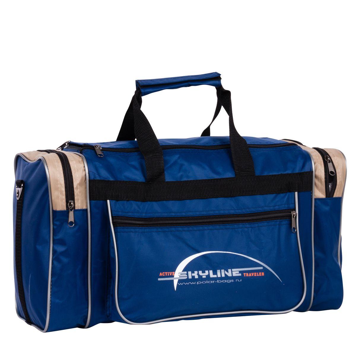 Сумка спортивная Polar, цвет: синий, бежевый, 23 л. 60096009_синий, бежевыйСпортивная сумка Polar выполнена из полиэстера с водоотталкивающей пропиткой. Это вместительная сумка среднего размера. Имеет одно отделение, два боковых кармана и два кармана на передней части. В комплект входит съемный плечевой ремень. Эта сумка идеально подойдет для спорта и отдыха.Размер: 46 х 25 х 20 см.