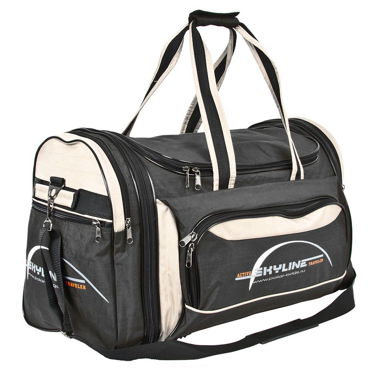 Сумка спортивная Polar, цвет: черный, бежевый, 66,5 л. 6069.1Костюм Охотник-Штурм: куртка, брюкиМатериал – полиэстер с водоотталкивающей пропиткой. Вместительная спортивная сумка среднего размера. Внутри - один отдел, два боковых кармана и карман на передней части. В комплект входит съемный плечевой ремень. Эта сумка идеально подойдет для спорта и отдыха. Спортивная сумка для ваших вещей. Сумка раздвижная ,на 5 см по бокам сумки.