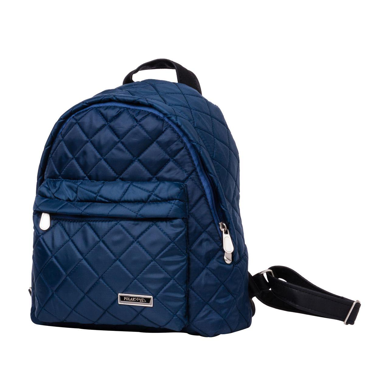Рюкзак городской Polar, цвет: синий, 16 л. п7074-04MW-1462-01-SR серебристыйНебольшой и очень удобный рюкзак Polar для повседневного использования. Внутри расположены два небольших открытых кармана и карман на молнии. Снаружи на передней стенке рюкзака вместительный накладной кармана на молнии. Рюкзак выполнен из стеганого материала, дно и лямки имеют вставки из экокожи. Сверху рюкзак имеет удобную ручку для переноски.