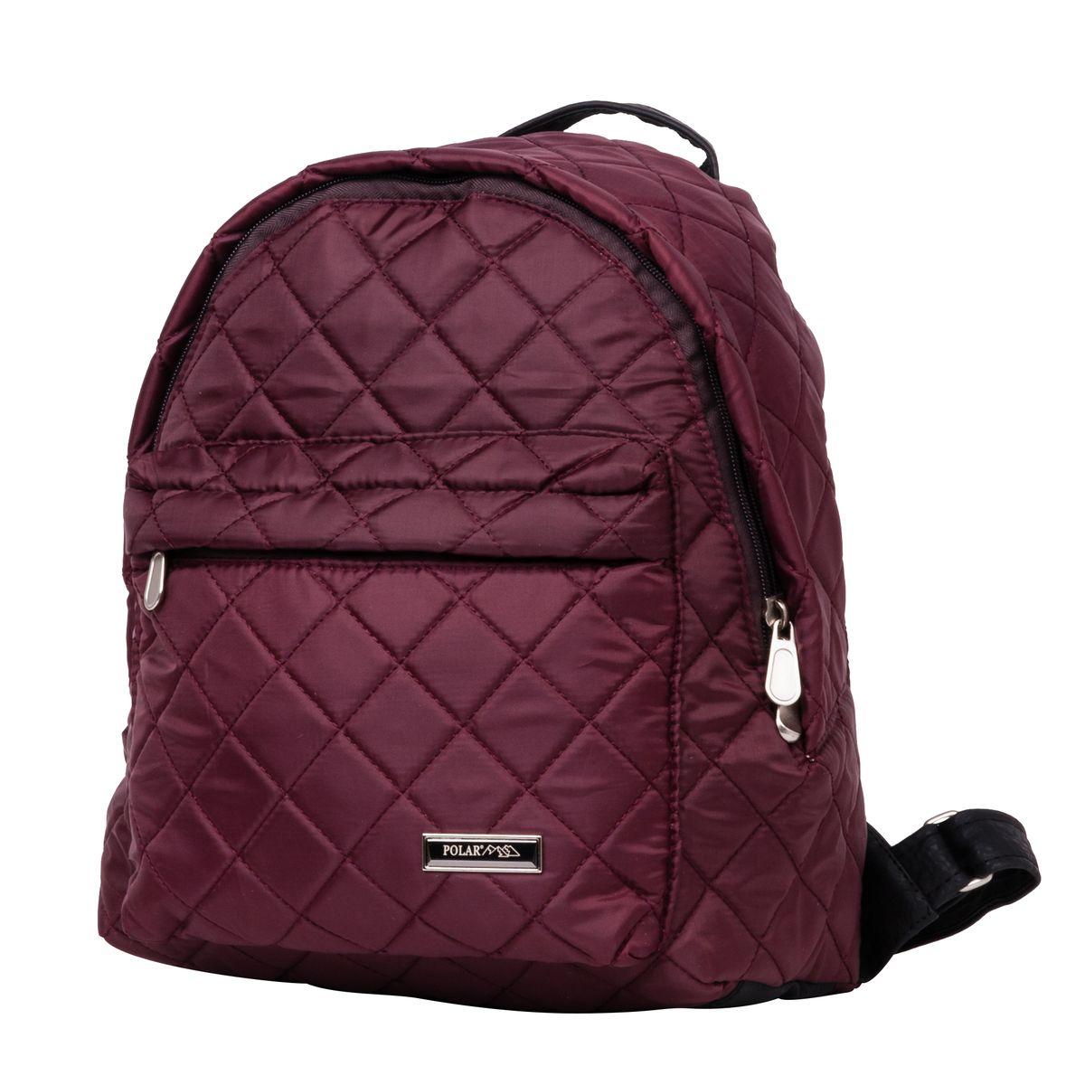 Рюкзак городской Polar, цвет: бордовый, 16 л. п7074-14Z90 blackНебольшой и очень удобный рюкзак Polar для повседневного использования. Внутри расположены два небольших открытых кармана и карман на молнии. Снаружи на передней стенке рюкзака вместительный накладной кармана на молнии. Рюкзак выполнен из стеганого материала, дно и лямки имеют вставки из экокожи. Сверху рюкзак имеет удобную ручку для переноски.