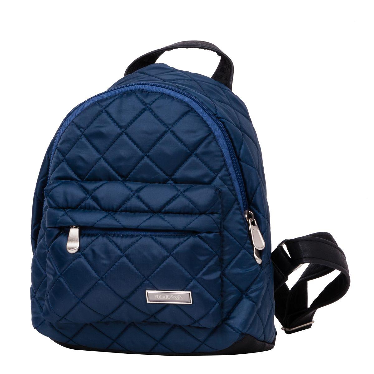 Рюкзак городской женский Polar, цвет: темно-синий, 9 л. п7075-04RU-704-3/1Рюкзак Polar выполнен из высококачественного полиэстера, который не пропускает воду. Рюкзак оформлен декоративной прострочкой и фирменной металлической пластинкой.На лицевой стороне расположен объемный накладной карман на молнии для мелочей. Рюкзак имеет петлю для подвешивания и две удобные лямки, длина которых регулируется с помощью пряжек. Изделие застегивается на застежку-молнию. Внутри расположено главное отделение, которое содержит вшитый карман на молнии и два открытых накладных кармана для телефона и мелочей.